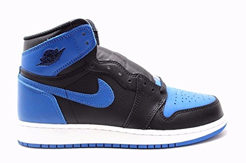 Nike Kid's Air Jordan AJ 1 Retro OG High Top Shoe, Black/Royal/White, 6 M US Big Kid by NIKE