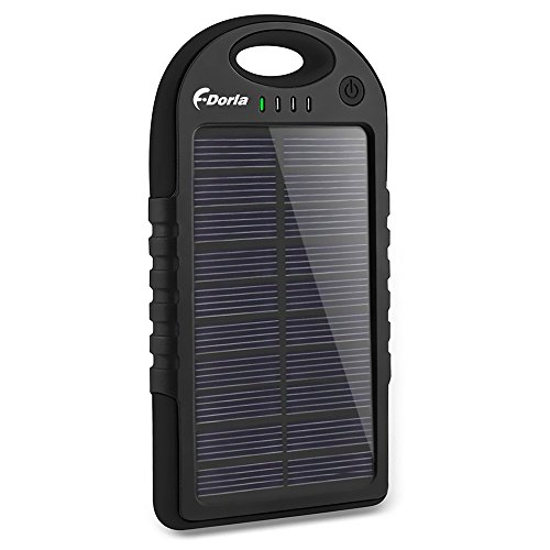 41chCeCEIOL - Solar Charger,F.Dorla 5000mAh Portable Solar Phone Charger Power Bank Waterproof Dual USB Battery Charger External Battery Pack with Flashlight for Cellphone,iPhone,Samsung,Android