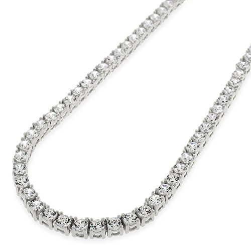 Sterling Silver 3.5mm Brilliant-Cut Clear Round CZ Solid 925 White Tennis Necklace 20'' - 30'' (30) by In Style Designz