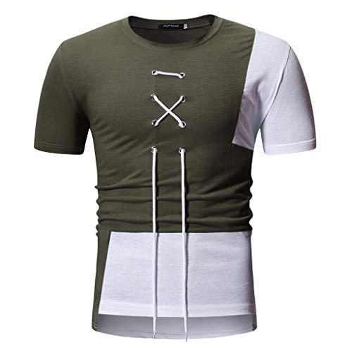LEXUPA Fashion Men's Summer Patchwork Binding Tape Short Sleeved T-Shirt Top Blouse Green ()