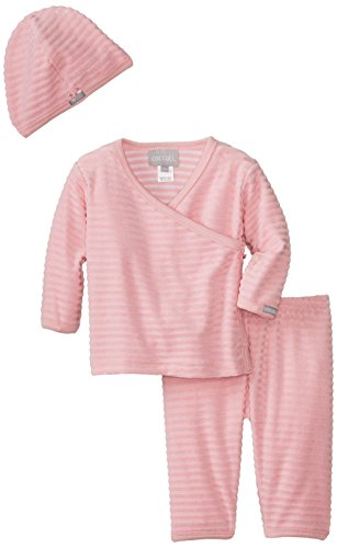 Coccoli Baby-Girls Newborn Enchanted Forest Tonal Stripe Velour Take Me Home Set, Pink, 3 Months