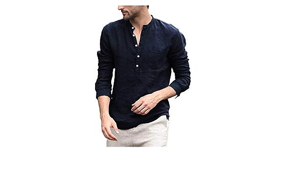 LANWINY Camisa para Hombre, Ajustada, sin Aros, Estrecha, con ...