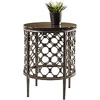 Hillsdale 5752OTE Brescello Round End Table, 18, Charcoal/Blue Stone