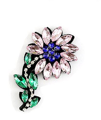YABINA 2Pcs/set Rhinestone Bead Patch 3D Embroidery Flower Iron on Sew on Patches Embroidery Applique Patches for Jeans, Neckline Collar Bust Dress, Clothing, Bags (Pink) ()