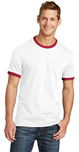 Port & Company Mens 5.4-oz 100% Cotton Ringer Tee PC54R -White/ Red S