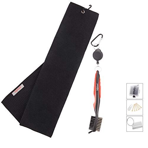 Microfiber Waffle Pattern Golf Towel with Brush Tool Kit,Golf Bag Tag,2 Ball Marker,6 Bamboo Tees (Black Towel+Red Brush)
