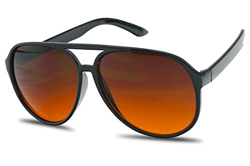 Sunglass Stop - Blue Blocking Over sized Round Bomber Aviator Sunglasses Amber Tinted Lens (Black, Amber (Blue Buster Lens))]()