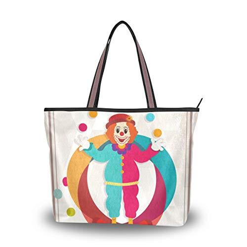 JERECY Funny Clown Shoulder Tote Bag Top Handle Polyster Shopping Handbag for Women Girls