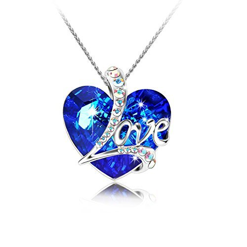 """Pealrich """" Heart of the Ocean"""" Love Heart Pendant Necklace Made with SWAROVSKI Crystal Elements, Gift for Women/Girlfriend (Blue)"""