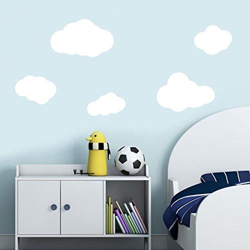 Ensemble de 5 nuages blancs, stickers muraux Sticker chambre d'enfant Stickers muraux pour enfants Art 211 DecorsConcept