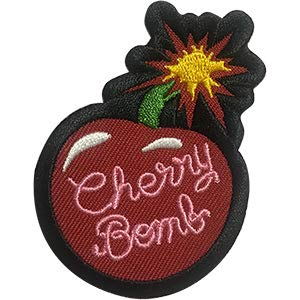 Bombs Cherry Bomb - Sew Iron on, Embroidered Original Artwork - Patch - 2.8