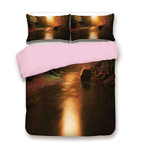Pink Duvet Cover Set,FULL Size,Calm Serene Autumn Forest with Flowing River Sunlight Pine and Oak Trees Branches,Decorative 3 Piece Bedding Set with 2 Pillow Sham,Best Gift For Girls Women,Multicolor ()