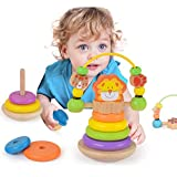 Wooka Lion Stacker Toy Wooden Rainbow Ring Stacker Educational Toys for Baby Toddlers