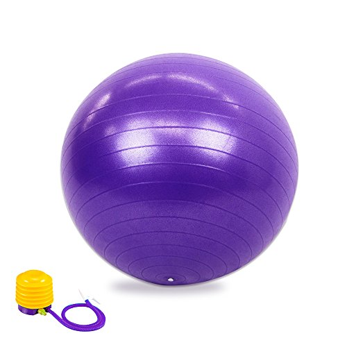 Anti-Burst Core Exercise Ball with Pump for Yoga, Balance, Workout, Fitness- 65cm (Purple)