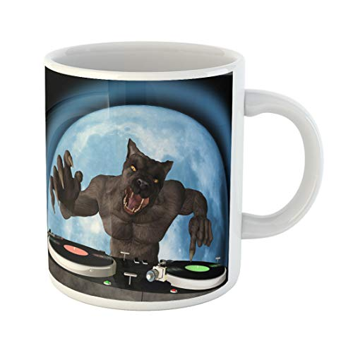 Semtomn Funny Coffee Mug Lycan Dj Werewolf Is in the House and Mixing 11 Oz Ceramic Coffee Mugs Tea Cup Best Gift Or Souvenir]()