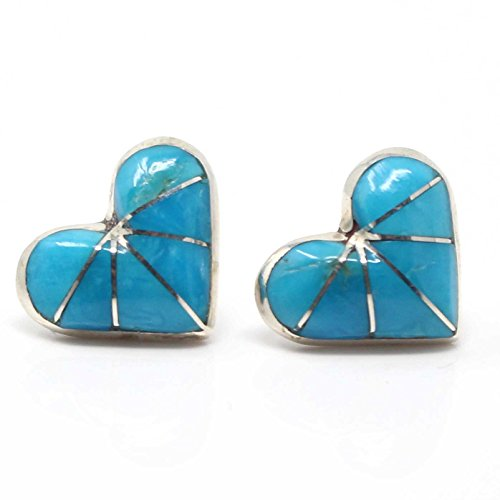 Zuni Channel Inlay Turquoise Post Heart Earring Handcrafted By Kalestewa