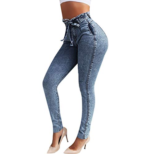 Dainzuy Jeans for Women Butt Lifting Classic High Waist Bow Elastic Slim Fit Jean Denim Trousers Pants ()