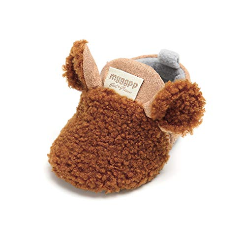 Tutoo Baby Boys' Girls' Shoes Cotton Cute Animals Slippers Prewalker Newborn Infant Crib Shoes (4.1 Inches (3-6 Months), B-Brown) by Tutoo