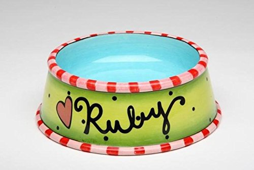 """5 3/8 Inch Multicolored """"Ruby"""" Pet Bowl, with Striped Rims"""