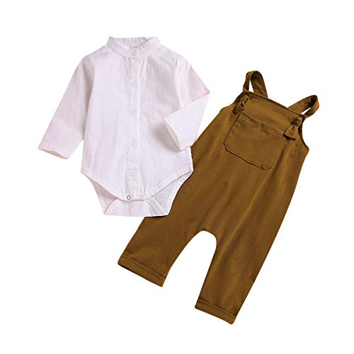 Kids Baby Girls Boys White Long Sleeve Jumpsuit Romper + Overalls Pants Outfits Set (White+Brown, 12-18 Months)