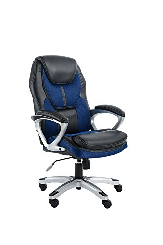 e Office Chair, Faux Leather and Mesh, Black/Blue (Black Faux Leather Desk)