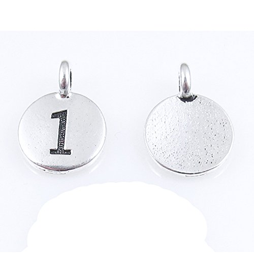 (TierraCast Pewter Number One Charms-Silver Round