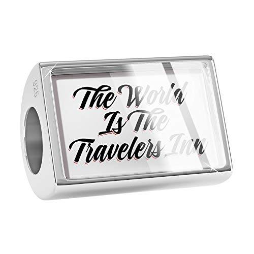 NEONBLOND Charm Vintage Lettering The World is The Travelers Inn 925 Sterling Silver Bead