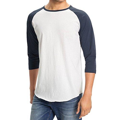 Men's Plain Baseball Athletic 3/4 Sleeve 100% Cotton Tee Shirt (Medium, White/Navy) -