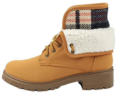JJF Lace Faux Boots Ankle Fur Nubuck Top Combat High HWTNUB Women Wool Up Cuff Shoes rpYaqwr