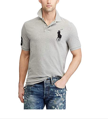 Polo Ralph Lauren Mens Big Pony Custom Slim Fit Mesh Polo Shirt (XX-Large, Grey Heather) ()