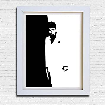 Scarface Tony Montana movie film poster black white framed print picture  small medium large  Amazon.co.uk  Kitchen   Home 2a35a0e819d74