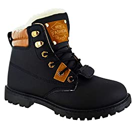 Other Womens Ladies Flat Fur Lined Grip Sole Winter Army Combat Ankle Boots Shoes Size