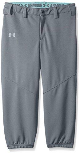 (Under Armour Girls' Base Runner Softball Pants, Steel (035)/Overcast Gray, Youth Small)