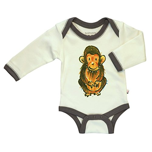 Babysoy Newborn Organic Long Sleeve Animal Print Bodysuit Romper Marmot 12-18...