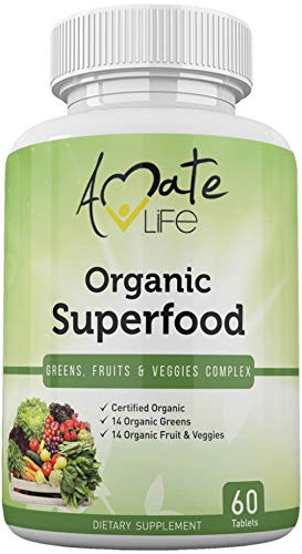 (Organic Superfood Greens Fruits and Veggies Complex- Best Dietary Supplement with 14 Greens and 14 Fruits & Vegetables- Rich in Antioxidants- All-Natural Organic Ingredients- Non-GMO 60 Tablets)