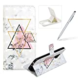 Wallet Leather Case for Galaxy A6 Plus 2018,Flip Case for Galaxy A6 Plus 2018,Herzzer Fashion Luxury 3D Special Effects Triangle Marble Print Magneic PU Leather Stand Cover with Soft Rubber