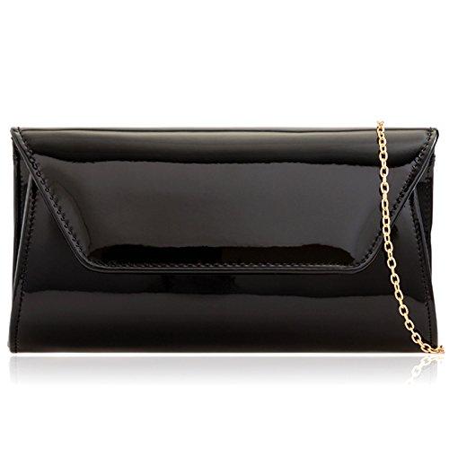 Leather For Baguette Over Xardi Black Handbags London Party Women Large Finish Clutch Flap Patent Bag Vinyl fxRpq