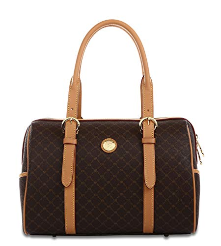 Rioni the Michigan Carrier St20272 Classic Signature Brown Canvas Leather Satchel Shoulder Bag