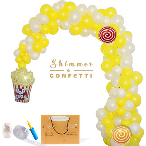 - SHIMMER & CONFETTI | Premium 100pc 16ft Popcorn Carnival Circus Balloon Arch Kit with 100+ balloons 2 giant popcorn balloons 2 candy balloons balloon pump | Carnival Circus Balloons | You are my Sunshine Hello Yellow Construction
