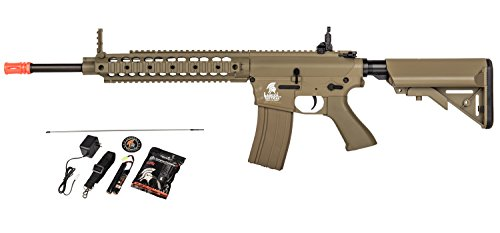 Lancer Tactical AEG SR-16 Electric Airsoft Gun w/ Battery Charger w/ Molded Grip (Tan)