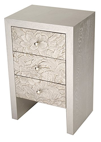 Heather Ann Creations Classical 3 Drawer Accent Cabinet with Cast Resin Floral Front Design and Trim, 28