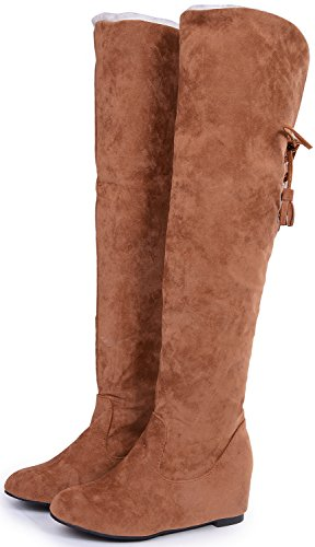 Warm The Yellow Insole Odema Knee Bootie Women Boots Increase Up High Lace Snow Wedge Over Suede 0qq1S