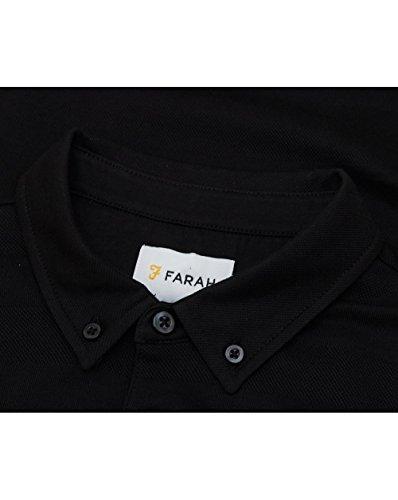 Farah Stapleton Long Sleeved Tonal Stripe Polo SMALL BLACK