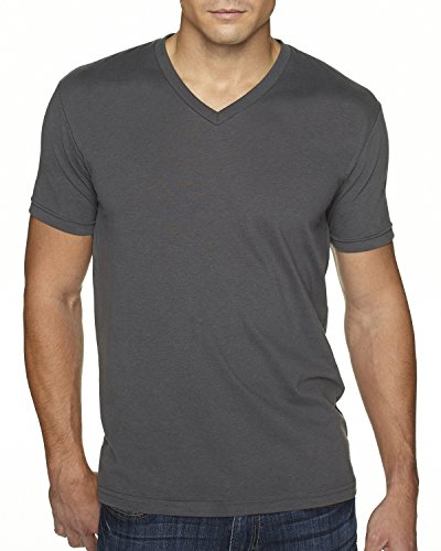 Next Level Apparel 6440 Mens Premium Fitted Sueded V-Neck Tee - Heavy Metal, Extra ()