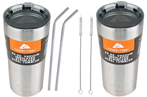 Ozark Trail Tumblers 20oz Gift Set - Set of 2 Double-Wall Vacuum-Sealed Ultimate Drinking Set. Includes 2 Happybotham Stainless Steel Straws and 2 Stainless Steel Drinking Straw Brushes.