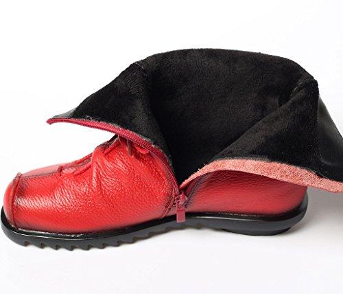 MatchLife - Náuticos de Piel para mujer Fleece-Red