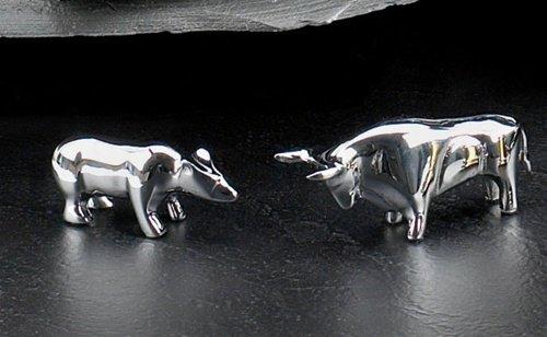 Chrome Plated Brass Bull & Bear Paperweight Set