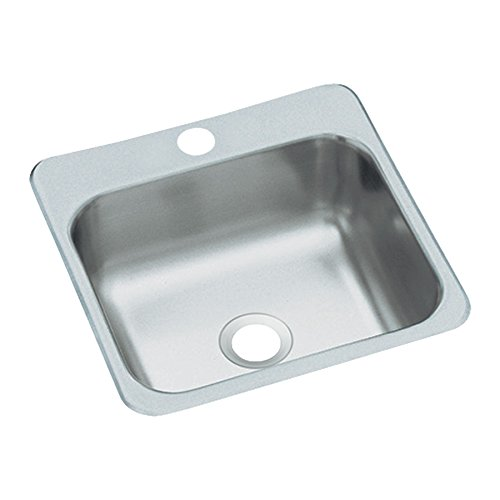 STERLING B153-1 Secondary Sink 15-Inch by 15-Inch Top-mount Single Bowl Bar Sink, Stainless Steel by Kohler