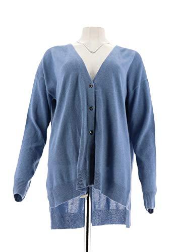 Halston Chic Silk-Cashmere Blend Button Cardigan HTHR Lt Indigo L New A272364