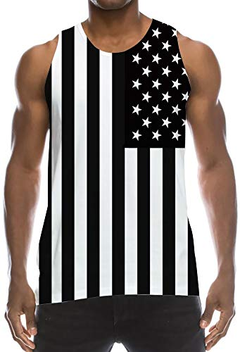Patriotic Graphic Print Vintage Tanktops Black White US